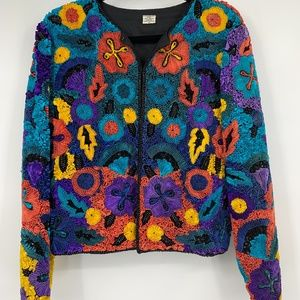 Vintage womens jacket XL colorful art to wear